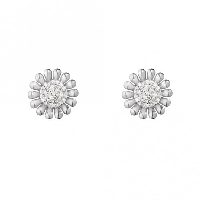 Sterling Silver Sunflower Diamond Set Earrings