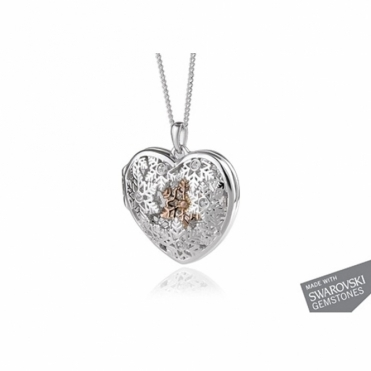 Sterling Silver Swarovski White Topaz Locket