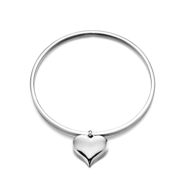 Sterling Silver Tilda Plain Adults Bangle with Heart Charm