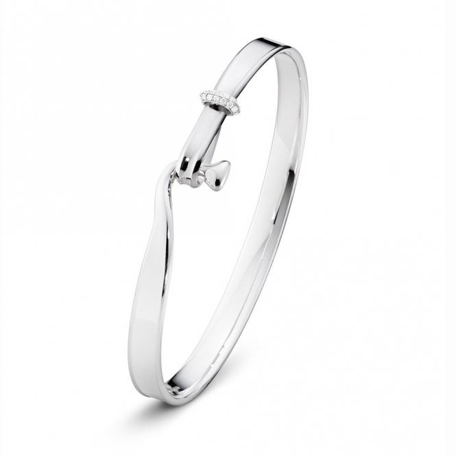 Sterling Silver Torun Diamond Set Bangle