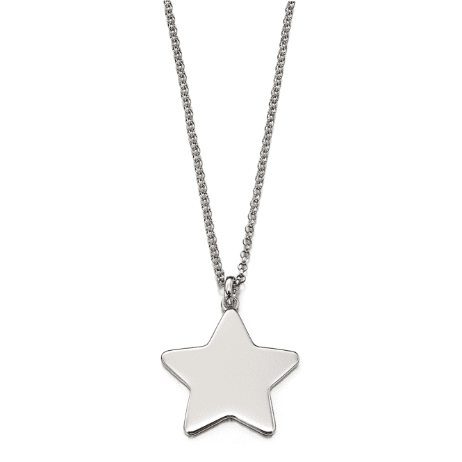 Sterling Silver Victoire Adults Plain Large Star Pendant