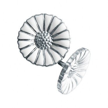Sterling Silver White Enamel Daisy Stud Earrings