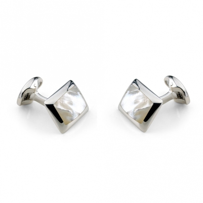 Sterling Silver White Mother of Pearl Square Cufflinks