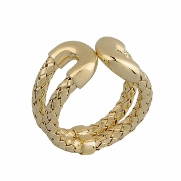 Sterling Silver Yellow Gold Vermeil Treccia 3mm Double Ring