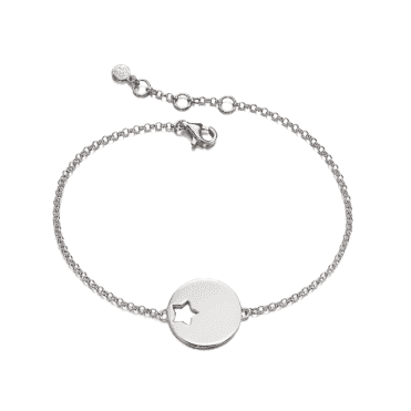 Sterling Silver Zoe Adults Cut Out Star Disc Bracelet