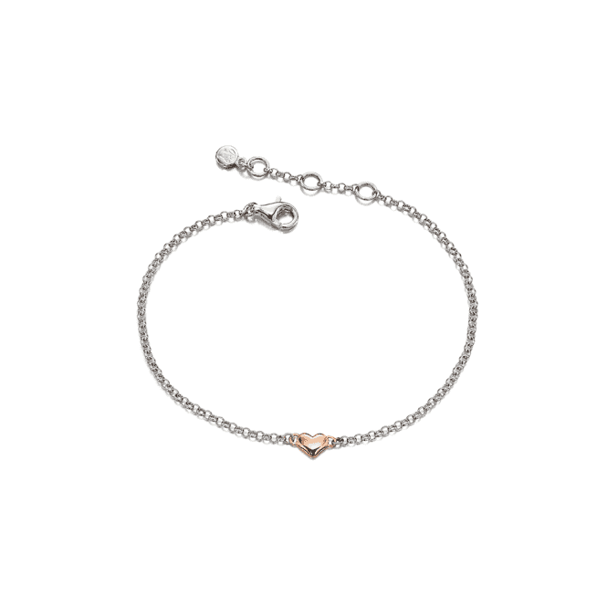 Sterling Siver Rose Gold Plated Georgiana Small Heart Bracelet