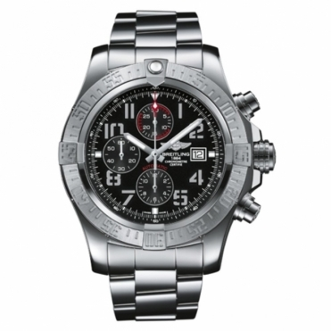 Super Avenger II automatic chronograph watch with Black Dial/Aviation numerals