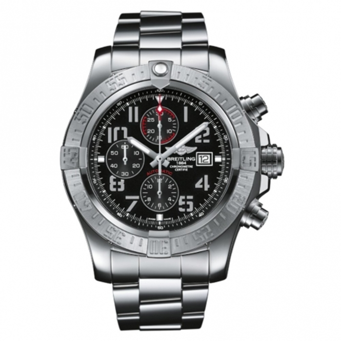 Super Avenger III automatic chronograph watch with Black Dial/Aviation numerals