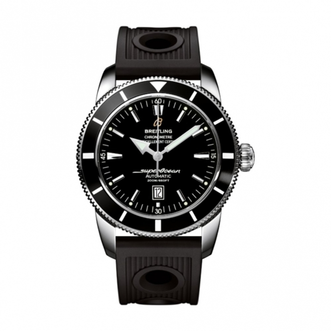 Superocean Heritage 46 Black Dial and Bezel.Black Rubber Ocean Racer Strap - A1732024/B868