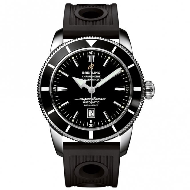 Superocean Heritage 46mm automatic chronometer with black dial and Ocean Racer Rubber strap