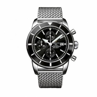 Superocean Heritage Chronograph with Black Bezel and Dial. Steel Ocean Classic Mesh Bracelet - A1332024/B908