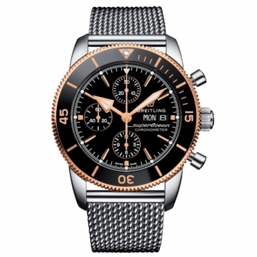 Superocean Heritage II Chronograph 44mm Rose Gold Black Ceramic