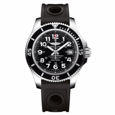 Superocean II 42mm Automatic Chronometer with Black Dial and Black Rubberised Bezel