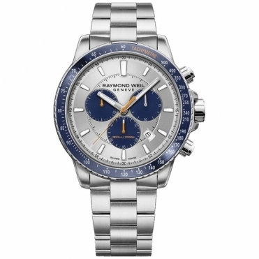 Tango 300 Quartz Chronograph Silver and Blue Dial