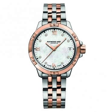 Tango Ladies Quartz Steel and Rose Gold PVD Watch with Diamonds