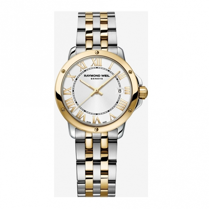 Tango ladies quartz watch in steel /yellow gold PVD with white dial /gold Roman numerals - 5591-STP-00308