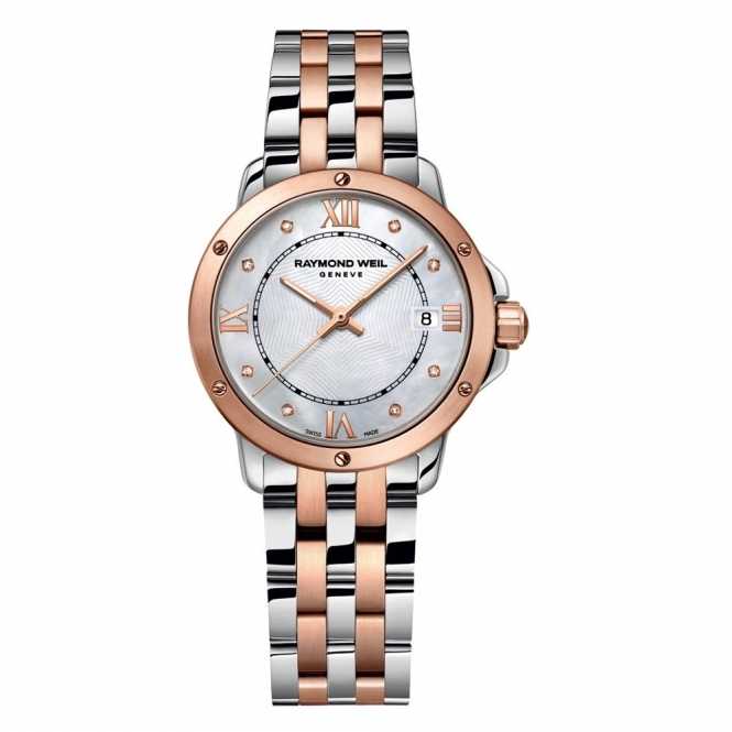 Tango ladies quartz watch steel/rose gold PVD watch with diamond dot dial