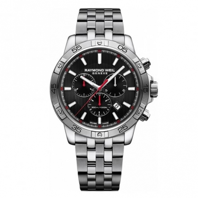Tango Quartz Chronograph Watch with Black Dial Red Accents