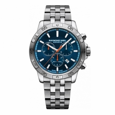 Tango Quartz Chronograph Watch with Blue Dial and Orange Accents
