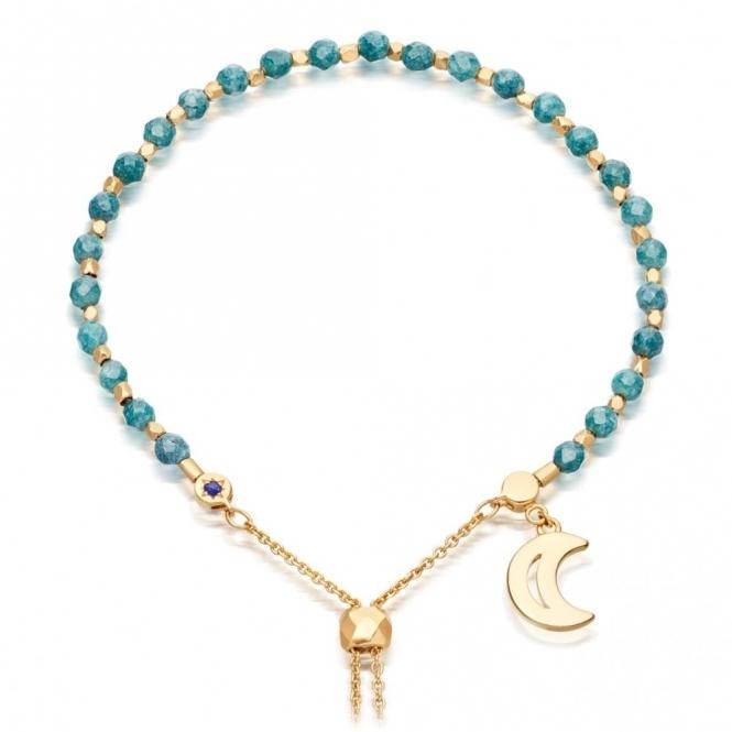 Teal Quartzite Moon Gold Kula Bracelet