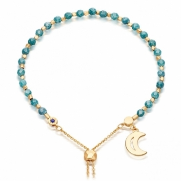 Teal Quartzite Moon Gold Kula Bracelet