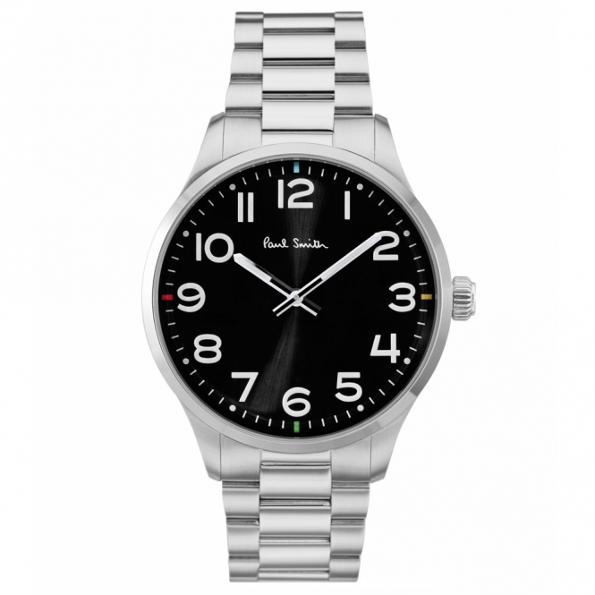 Tempo 2 hand 41mm stainless steel quartz bracelet watch. Black dial with Arabic numbers