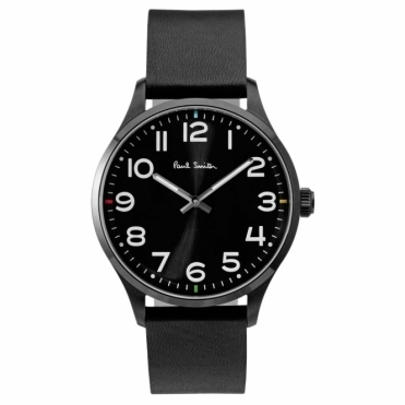 Tempo Black Dial Watch with Arabic numbers & Black Leather Strap