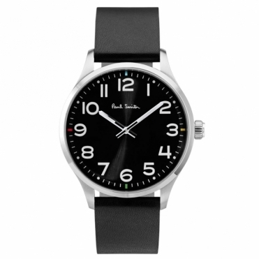 Tempo Watch with Black Dial/Arabic Numbers & Black Leather Strap