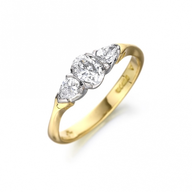 Three Stone Oval & Pear Shaped Diamond Engagement Ring