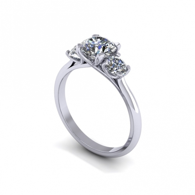Three Stone Platinum Diamond Ring