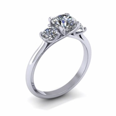 Three Stone Platinum Diamond Ring