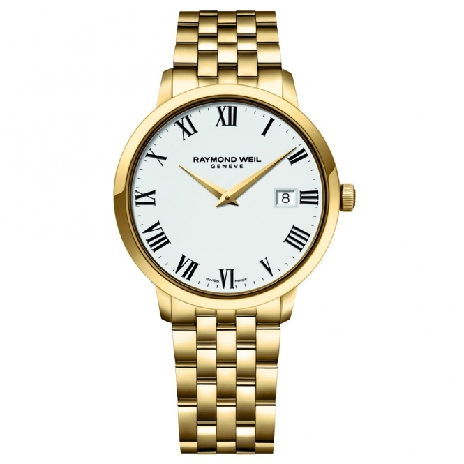 Toccata Gents Yellow Gold PVD Quartz Bracelet Watch with White Dial and Roman Numerals
