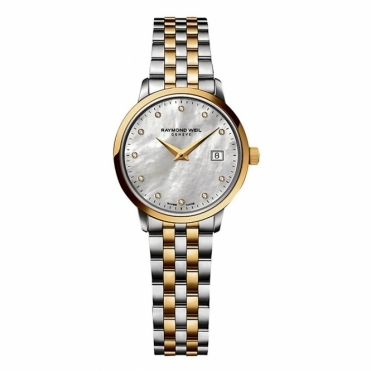 Toccata ladies quartz watch. Steel and yellow gold PVD. Mother-of-Pearl dial with 11 diamonds - 5988-STP-97081