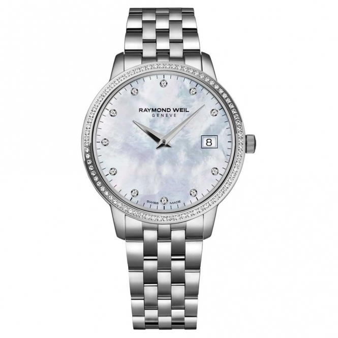 Toccata Ladies stainless steel quartz watch with Mother-of-Pearl dial and diamond set bezel