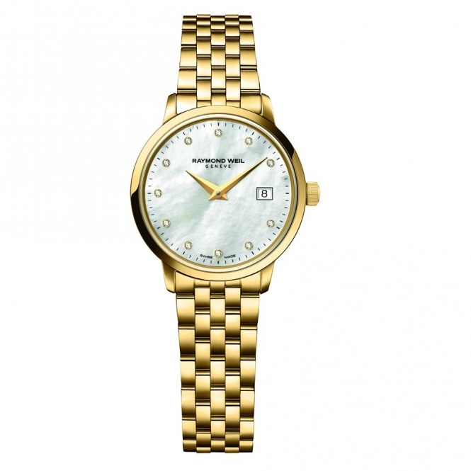 Toccata ladies yellow gold PVD watch with Mother-of-Pearl Dial and Diamond Hours