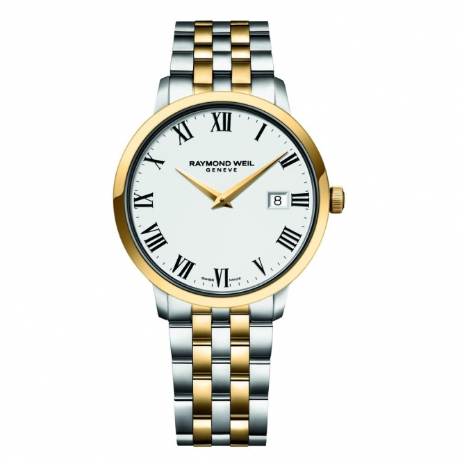 Toccata Steel and Gold PVD Gents Quartz Watch with White Dial and Roman Numerals