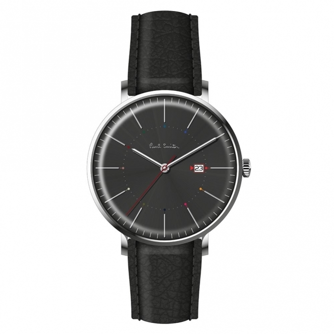 Track 3 Hands Quartz Watch with Black Dial and leather strap