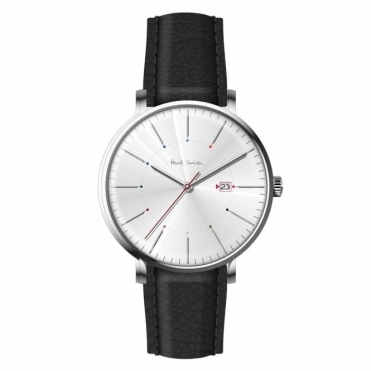 Track 3 Hands Quartz Watch with Silver Dial and leather strap