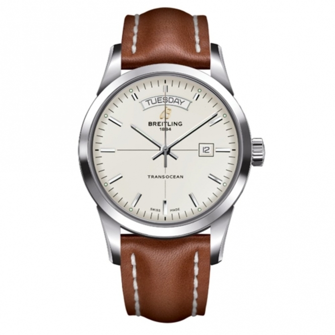 Transocean Day & Date automatic chronometer, with brown calf leather strap