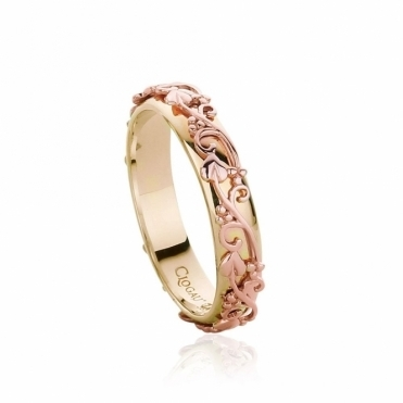 Tree of Life Rose and Yellow Gold Ring