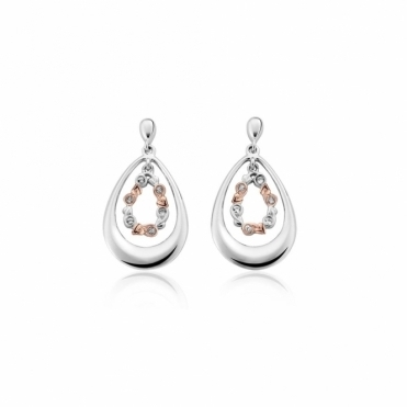 Tree of Life White Topaz Drop Earrings