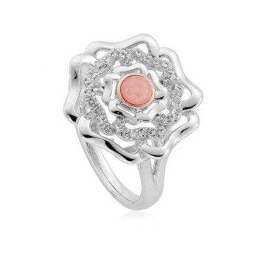 Tudor Rose Pink Opal Ring