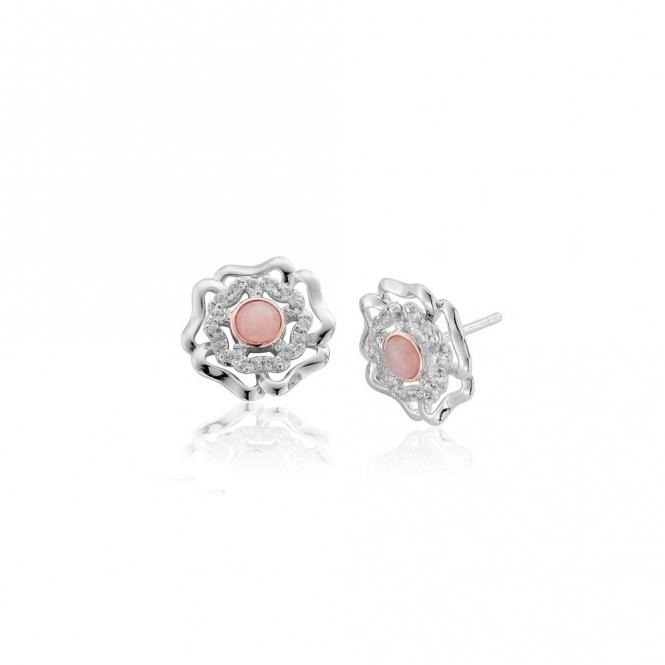 Tudor Rose Pink Opal Stud Earrings