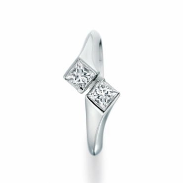 Two Stone Princess Cut Diamond Ring