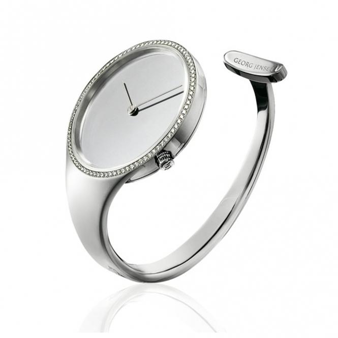 Vivianna 326 Open Bangle Las Quartz Watch With Mirror Dial And Diamonds Georg Jensen Watches