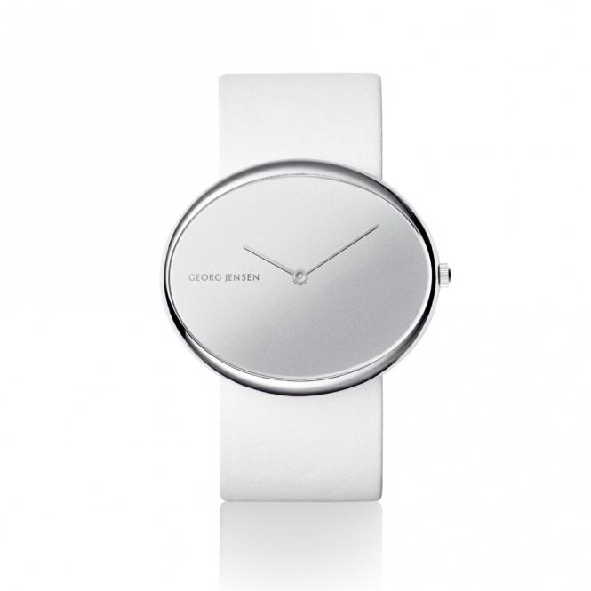 Vivianna Oval 323 Quartz Las Watch With Mirror Dial And Black White Straps 3575027