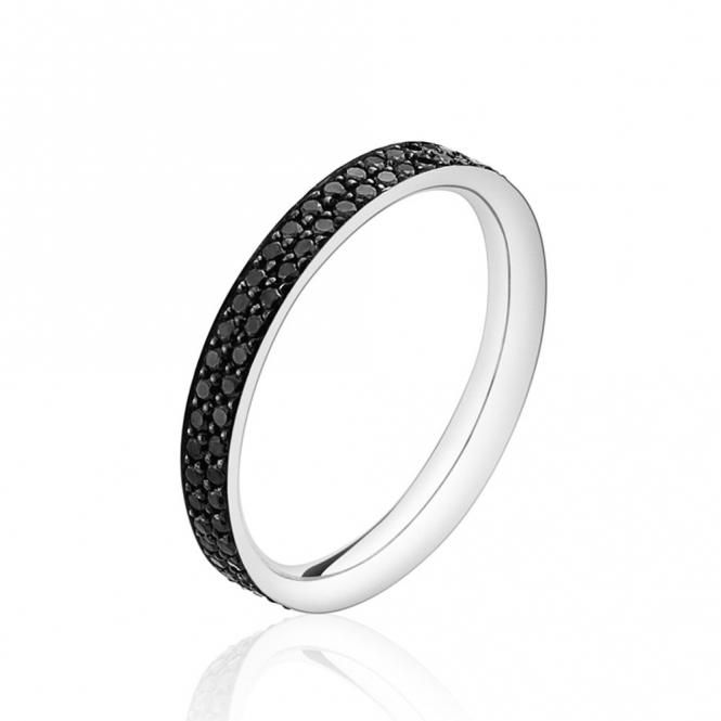 White Gold and Black Diamond Magic Ring