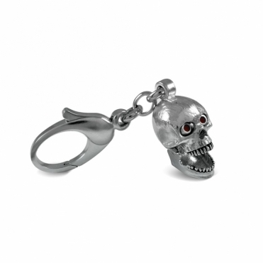 White Rhodium Plated Skull Keyring