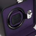 Windsor Single Travel Watch Winder in Black Leather and PurpleTwill