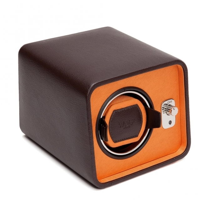 Windsor Single Travel Watch Winder in Brown Leather and Orange Twill